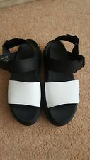 BNWOB Dr MARTENS VOSS Hydro Leather Black & White Sandals UK 7 EU 41