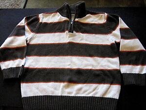 Good TOUGHSKINS BROWN ivory boys large 7 L/sleeve striped warm fall sweater L@@K