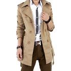 Style Men's Trench Coat Winter Long Jacket Double Breasted Overcoats Windbreaker