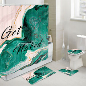Color Oil Painting Get Naked Shower Curtain Set Bath Toilet Pad Cover Bath Mat