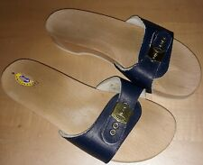 Dr. Scholls Original Womens 9 Wooden Slides Leather Navy Blue Sandals Shoe