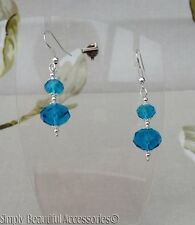 Chic Turquoise/Teal Faceted Glass Cushion Bead Dangle Drop Pierced Earrings