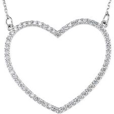 """DIAMOND HEART NECKLACE .25 Ct. TDW 14K White Gold 16"""" Small Other sizes avail"""
