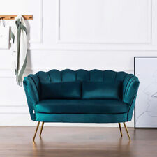 Two Seater Scalloped Couch Chair Love Seat Sofa Settee Upholstered Velvet Sofas