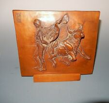Relief Bronze Cast Metal Matador and Bull with Stand Mid Century Signed DP