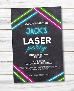 PERSONALISED laser tag QUEST PARTY BIRTHDAY INVITATIONS ENVELOPES