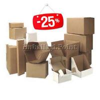 50 Stück Boxen von Karton Verpackung Versand 25x20x15cm gelocht Havanna