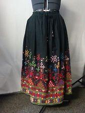 Vtg 70s SKirt Black Boho Hippie Embroidered Mirrors Draw String Waist Bell M/L