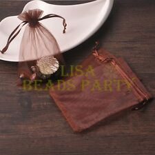 100pcs 16x11cm Organza Wedding Party Decoration Gift Candy Sheer Bags Deep Brown