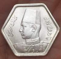 1944 Egypt 2 piastres FAROUK SILVER HEXAGON **UNC**  LOW MINTAGE LUSTRUS BU COIN