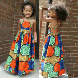 Toddler Kids Girls African Dashiki 3D Digital Print Suspenders Princess Dress