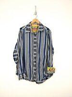 Robert Graham Flip Cuff Shirt Men XL Blue Green Yellow Stripe Colorful Party