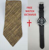 Hugo Boss Tie Silk Brown/Yellow Italy - Free Watch Octavius