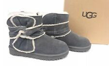 Ugg Australia Mini Spill Seam Bow Charcoal Grey Gray 1095701 Shearling Suede