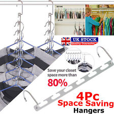 4x Space Saver Hanger Closet Organizer Storage Coat Clothes Magic Hook Metal UK
