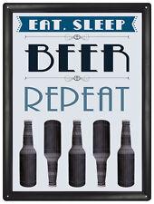 Eat Sleep Beer Repeat metal sign   (rh)