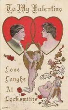 CARTE POSTALE GAUFREE FANTAISIE TO MY VALENTINE LOVE LAUGHS AT LOCKSMITHS