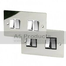 10 Amp Light Switch 4 Gang 2 Way in Polished Mirror Chrome FLAT Plate