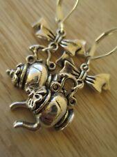 USA Artist Handmade Tibetan Silver Tea Pot with Bow Earrings