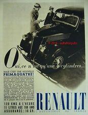 PUBLICITE AUTOMOBILE RENAULT PRIMAQUATRE 4 CYLINDRES DE 1937 FRENCH AD PUB RARE