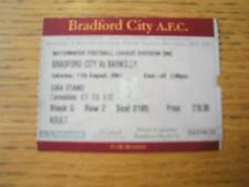 11/08/2001 Ticket: Bradford City v Barnsley  (Corner Tr