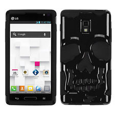 T-Mobile LG Optimus L9 P769 Skull Hybrid Rubber Silicone Case Cover Black Black
