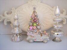 New ListingVtg Xmas Centerpiece, Pink Bottlebrush Tree, Orns, Jewelry Shabby Chic