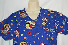 Disney Medium Mickey Minnie Happy Halloween Scrub Top Shirt 2 Pocket Donald Duck