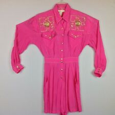 Vintage Cache Romper Womens 8 Western Studded Pink Pockets USA