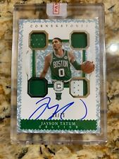 2017-18 Jayson Tatum Cornerstones ON CARD Auto Game Used RC Rookie 08/75 Celtics