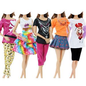 10 Stücke = 5 Set Rock Hose Tops Hemd Kleider Kleid Kleidung Für Barbie Puppe C