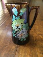 "Vtg JAPANESE BROWN PITCHER HAND PAINTED  FLORAL DESIGN 6""  Pottery Distressed"
