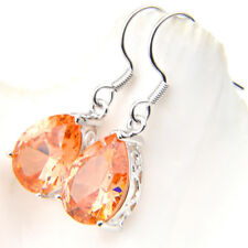 Amazing Shiny Natural Champagne Topaz Gemstone Silver Dangle Hook Eearrings