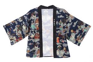 KJ-05-1 grau blau Night Parade of 100 Demons Tales Haori Über-Jacke Japan Kimono