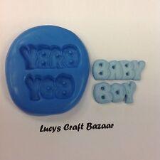 Stampo IN SILICONE NEW BABY BOY parole DOCCIA Pasta di Zucchero Cioccolato per Cupcake Topper GHIACCIO