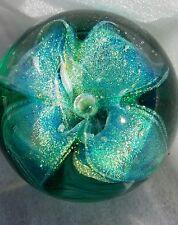"GLASS EYE STUDIO GES 97 ART GLASS PASSION FLOWER  PAPERWEIGHT ROUND 3"" STUNNING!"