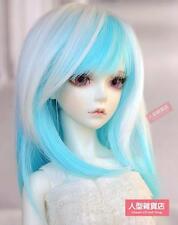 """BJD Doll Hair Wig 7-8"""" 17cm-18cm 1/4 MSD DZ DOD LUTS White Blue E41"""