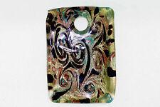 Venetiaurum Murano Venetian Green Bronze Gold Black Glass Rectangular Pendant