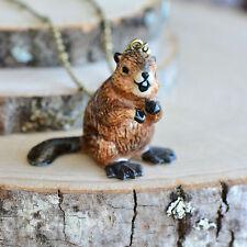 Hand Painted Porcelain Beaver Necklace, Antique Bronze Chain, Ceramic Animal