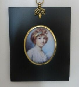 Acorn hanger frame with portrait miniature of girl with ribbon in her hair