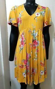 NEW ASOS Maternity Tie Neck Tea Dress, Yellow Multi UK 10