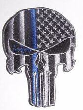 Thin blue line punisher patch iron-on police law enforcement  new tactical