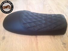 BLACK CHEQUERED LEATHER LOOK CAFE RACER SEAT WITH MULTI FIT BRACKETS PROJECT KIT