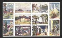 1930's-40's Pane of Ten Artist Paintings of locations in California