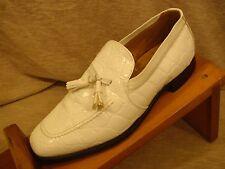 Johnston & Murphy Aristocraft Vintage White Faux Croc Tassel Loafers 9 C/R S5-41