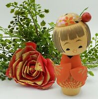 Vintage Japanese KOKESHI Doll Red Gold Floral Kimono Wooden Japan FREE GIFT BOX