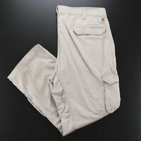 CARHARTT Force Beige Woven Relaxed Straight Pants Mens W42 L32