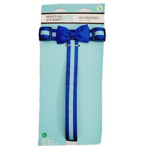 Martha Stewart Pets® Blue Stripped with Bow Step-In Dog Harness Sz Large New