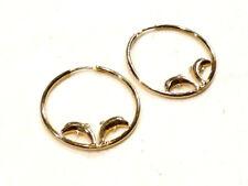 Bijou plaqué or 18 carats boucles d'oreilles créoles avec dauphins earrings