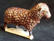 Redware Folk Art: Antique POTTERY LAMB,, Sheep,  Brown Slip